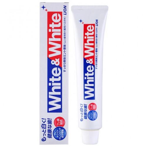 日本 LION狮王 成人WHITE&WHITE含氟大白管牙膏 150g【江阴保税仓】