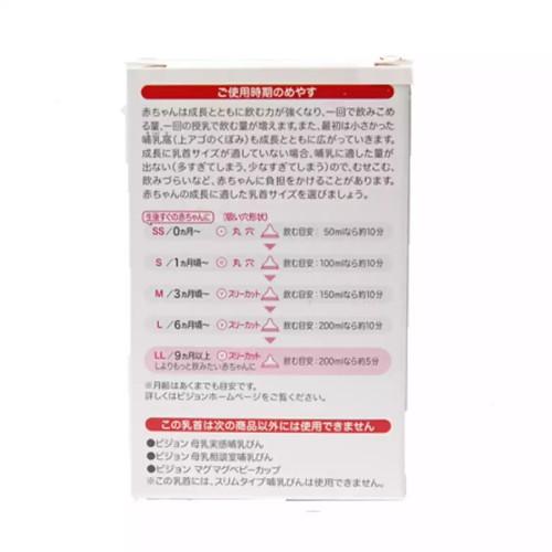 【促销】日本本土版 贝亲pigeon 奶嘴宽口经S/M/L/LL号 Y字孔 两只装 【江阴保税仓】