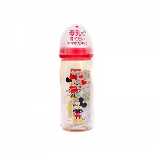 日本 Pigeon贝亲 母乳实感塑料奶瓶 240ml 米奇图案【江阴保税仓】